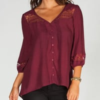 Full Tilt Womens Peasant Top Burgundy  In Sizes