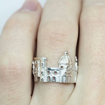 Florence Cityscape Sterling Silver Statement Ring - Wearable Art!