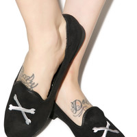 Y.R.U. Black White Crossbone Lowf Flats Black/White