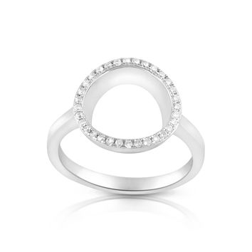 Sterling Silver Simulated Diamond O Circle Ring