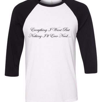 "One Direction ""Everything I Want But Nothing I'll Ever Need / Liam Payne Tattoo"" Baseball Tee"
