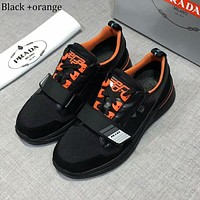 PRADA 2018 new men's outdoor sports shoes mesh breathable casual shoes black+orange