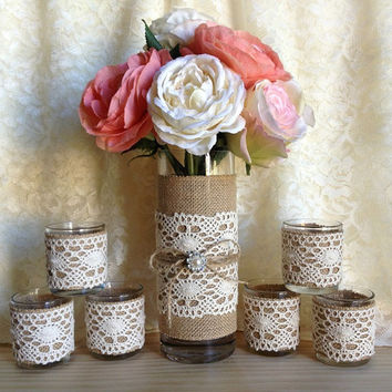 lace and burlap covered tea 6 tea candle and 1 vase, wedding, bridal shower, baby shower decoration, home decor, gift or for you