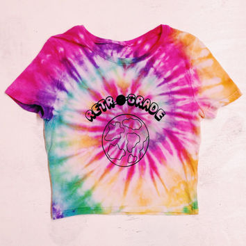 Tie Dye Crop Top Retrograde Custom Made Tye Dye Space Tee Tumblr Brandy Melville