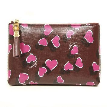 DCCKUG3 Gucci 338815 Purple Leather Heart Zip Cosmetic Case Pouch