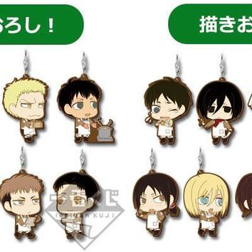 Cool Attack on Titan  Anime Krista Lenz Rivaille Eren Armin Sasha Rubber Keychain AT_90_11