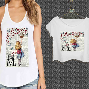 Alice in Wonderland Madhatter Chershire Cat For Woman Tank Top , Man Tank Top / Crop Shirt, Sexy Shirt,Cropped Shirt,Crop Tshirt Women,Crop Shirt Women S, M, L, XL, 2XL**