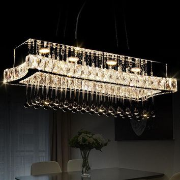 Luxury Modern Rectangle Crystal LED Dining Living Room Lighting Chandelier Lamp