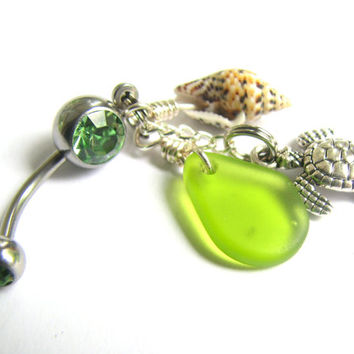 SeaGlass Sea Turtle Belly Button Ring Green Belly Button Jewelry Shell and Sea Glass Body Piercing Navel Ring Bellybutton Ring