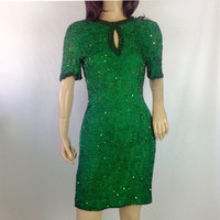 80s Sequin Dress Green Silk Party Dress Cut Out Beaded Trophy Dress Party Wiggle Sheath Dress Lawrence Kazar New York 1989s Dress XS S PS