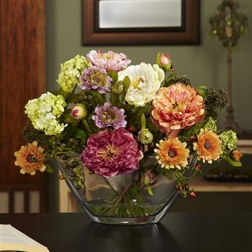 SheilaShrubs.com: Mixed Peony w/Glass Vase Silk Flower Arrangement 4668 by Nearly Natural : Artificial Flowers & Plants