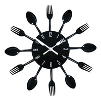 Modern Design 3D Stainless Steel Kitchen Wall Watch Quartz Knife Fork Spoon Clock Creative Clock Home Decoration