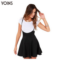 YOINS New 2016 Women Fashion Black Skater Skirt with Shoulder Straps Pleated Hem Braces Skirt Saia Femininos Braces skirt