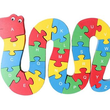Funny Digital & Letter Wooden Blocks Puzzles Educational Puzzle Snake