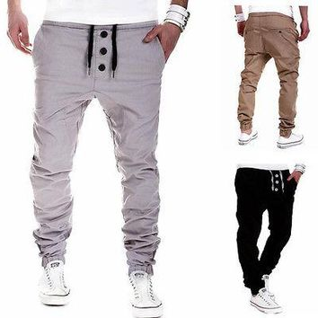 Plus Size M- 3XL Mens Chino Pants Casual Fashion Black Khaki Grey Joggers Cotton Sweatpants Men Elastic Harem Pants