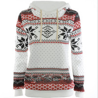 Loose printed long - sleeved thick hooded sweater White