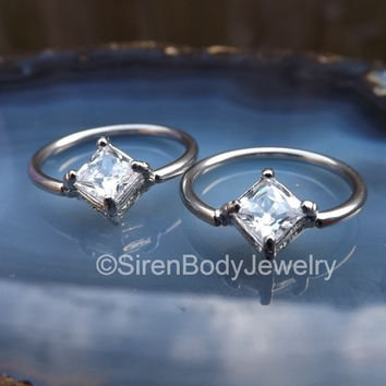 """Nipple ring piercing jewelry 14g captive bead ring hoop ring clear gems 1/2"""" conch earring diamond cz body piercings silver stainless 2pcs"""