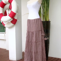 Pink Skirt / Light Pink Maxi Skirt - Summer Cotton Spring Skirt Large Long Boho Skirt - SK002