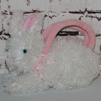 90s Plush Purse Bunny Rabbit White Fuzzy Pink Lolita Pastel Goth Kawaii Animal Rave Club Kid Floral TY Hutch Clutch small easter bag