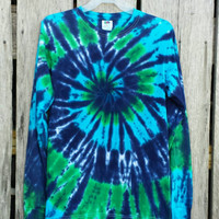 Tie Dye Long Sleeve Shirt,   Available Unisex Adult Sizes S M L XL XXL, Blue, Turquoise and Green Spiral,  Hippie Top