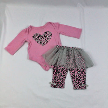 Baby Glam Leopard Print Set , size 3-6 mo