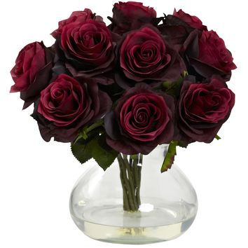 Artificial Flowers -Burgandy Rose Arrangement With Vase Silk Flowers