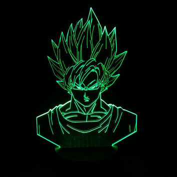 Dragon ball z super saiyan 3 goku action figures 3d table lamp 2016 New 7 color changing figuras dragon ball z banpresto figures 80's hwd