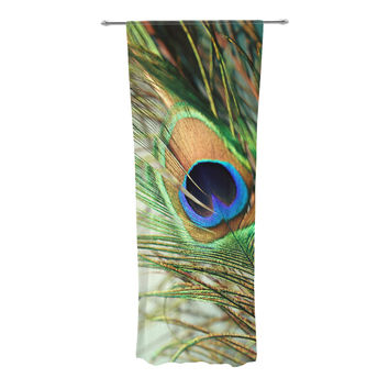 "Sylvia Cook ""Teal Peacock Feather"" Decorative Sheer Curtain"