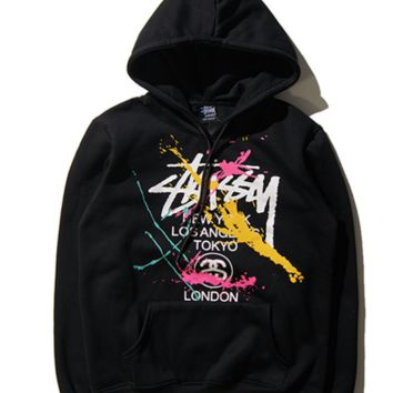 Fashion Unisex Letter Stussy Printed Color Blocking Hoodies Sweaters Coat  (On Sale )