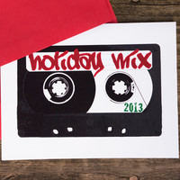 Mix tape Cards Holiday Mix 2013, set of 10 cassette christmas hanukkah hipster notecards
