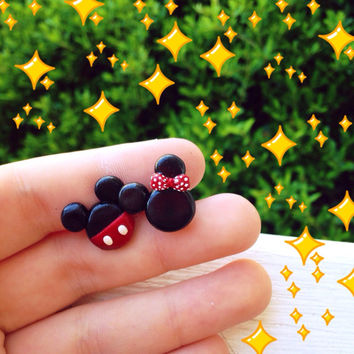 Mickey and Minnie Disney Polymer Clay earrings