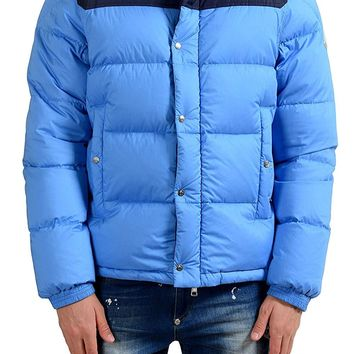 Moncler Men's Blue Full Zip Down Parka Jacket With Detouchable Sleeves