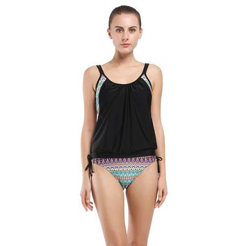 New Tankini Set Sexy Sport Swimwear Women Striped Bottom Double Up