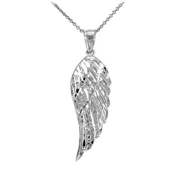"""Textured 925 Sterling Silver Angel Wing Charm Pendant Necklace, 16"""""""