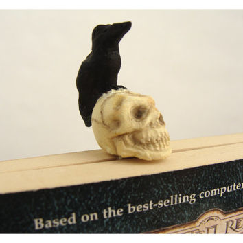Nevermore Raven and Skull Bookmark - humorous gift-