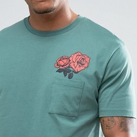 ASOS Longline T-Shirt With Pocket And Rose Print at asos.com
