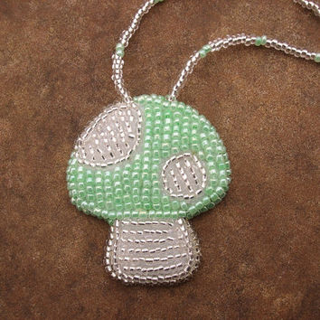 Green mushroom necklace, mushroom pendant, fun jewelry, bead embroidery, beadwork