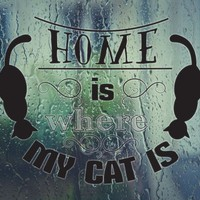 Home is where MY CAT IS  Vinyl Wall Decal - Permanent Sticker