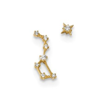 14k Madi K Childrens CZ 1 Stud Star and 1 Little Dipper Post Earrings