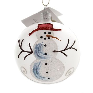 Golden Bell Collection Frosted Ball With Snowman Glass Ornament