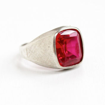Vintage Sterling Silver Simulated Ruby Glass Stone Men's Ring - 1960s Retro Size 11.5 Hallmarked Vargas Solitaire Emerald Cut Jewelry