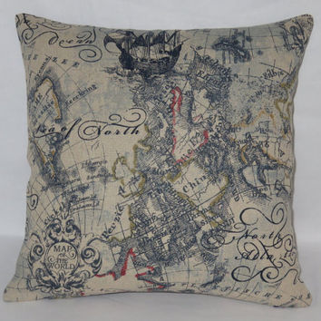 "Fantasy Map Pillow, 17"" Square Linen Blend, Navy Blue Red Gold Olive, Globe Script, Zipper Cover Only or Insert Included, Ready Ship"