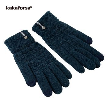 Kakaforsa Men Winter Gloves Thick Long Glove with Metal Star Jacquard Knitted Warm Solid Touchscreen Mittens Luvas de inverno