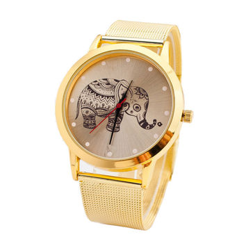Charming Watches Women Classic Gold Elephant Quartz Luxury Clock Hour Stainless Steel Wrist Watch Waterproof Relojes Mujer