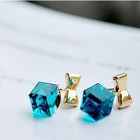 Exquisite Crystal Bow Earrings