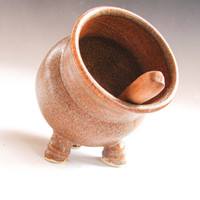 Copper-colored Salt Pig - Salt Cellar - Spice Container - handthrown stoneware