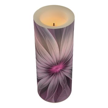 Pink Flower Waiting For A Bee Abstract Fractal Art Flameless Candle