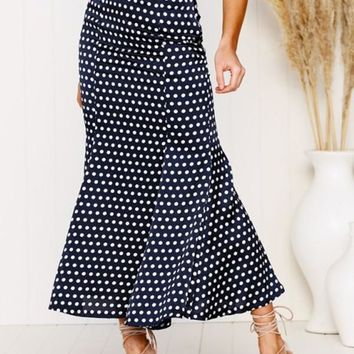 New Navy Blue Polka Dot Ruffle High Waisted Sweet Skirt