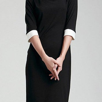 Turn-Down Collar Shift Dress in Black