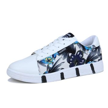 Low Top Floral Canvas Sneakers